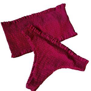 Burgandy Ruffle Boob Tube 2 piece Swimmer Swimsuit